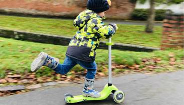 Max testing out the Globber Primo Starlight Scooter