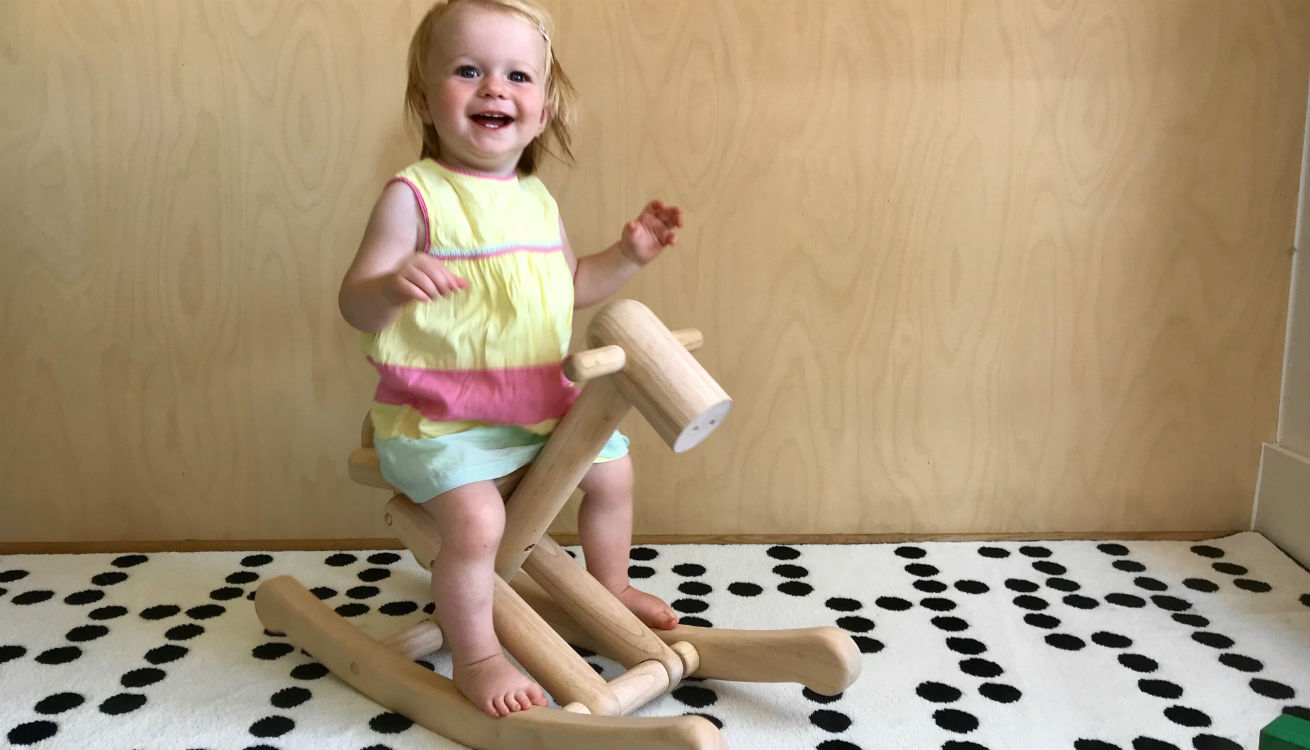 The Plan Toys foldable rocking horse is a sustainable toy