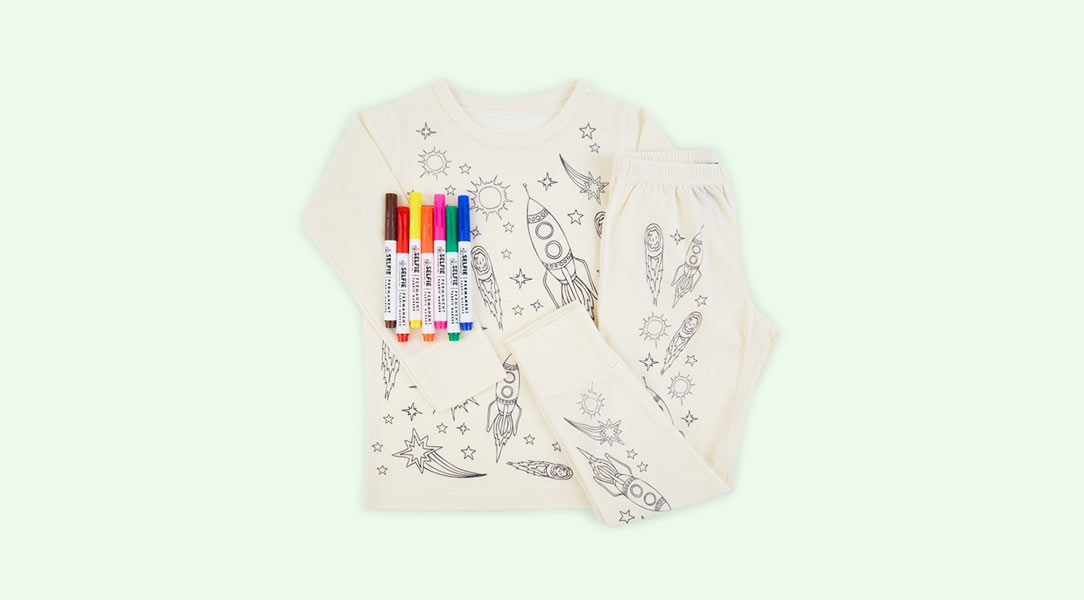 Get creative with the Selfie Clothing Co Colour-In Pyjamas