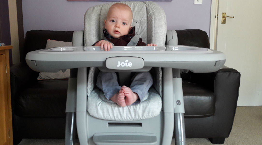 Rupert testing out the Joie Multiply 6in1 Highchair