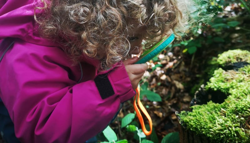 Mari using her Hape Nature Detective Set in a forest