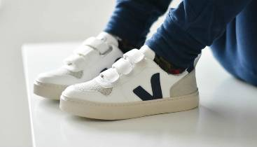 Ralphie trying out his Gorilla trainers by Veja.