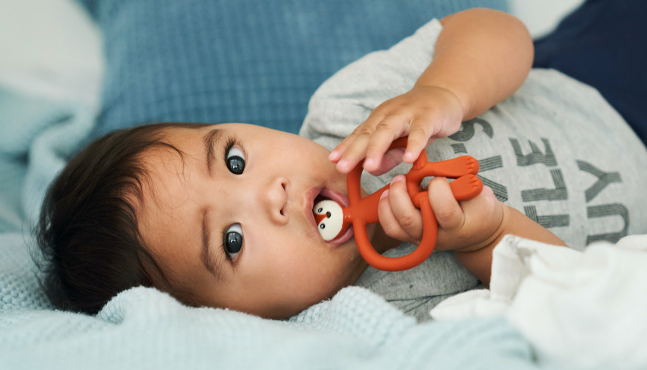 Baby teething with a Matchstick Monkey Animal Teether