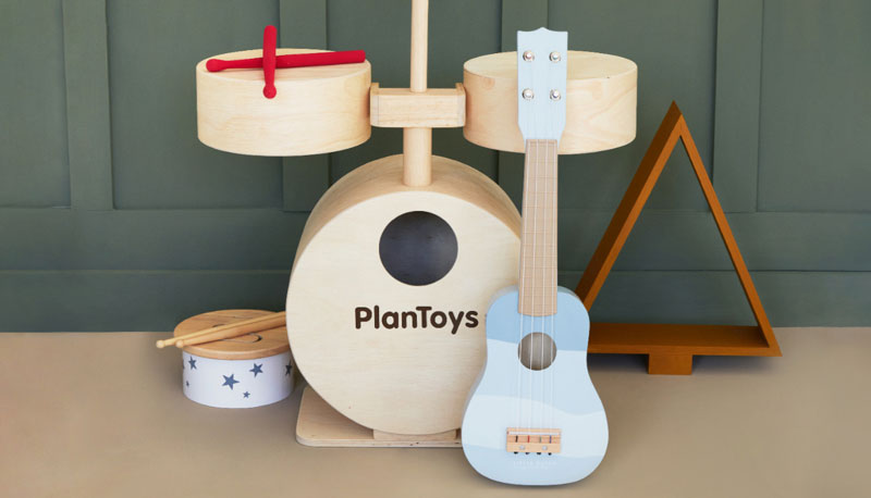 Plan Toys Drum Kit & Little Dutch Guitar
