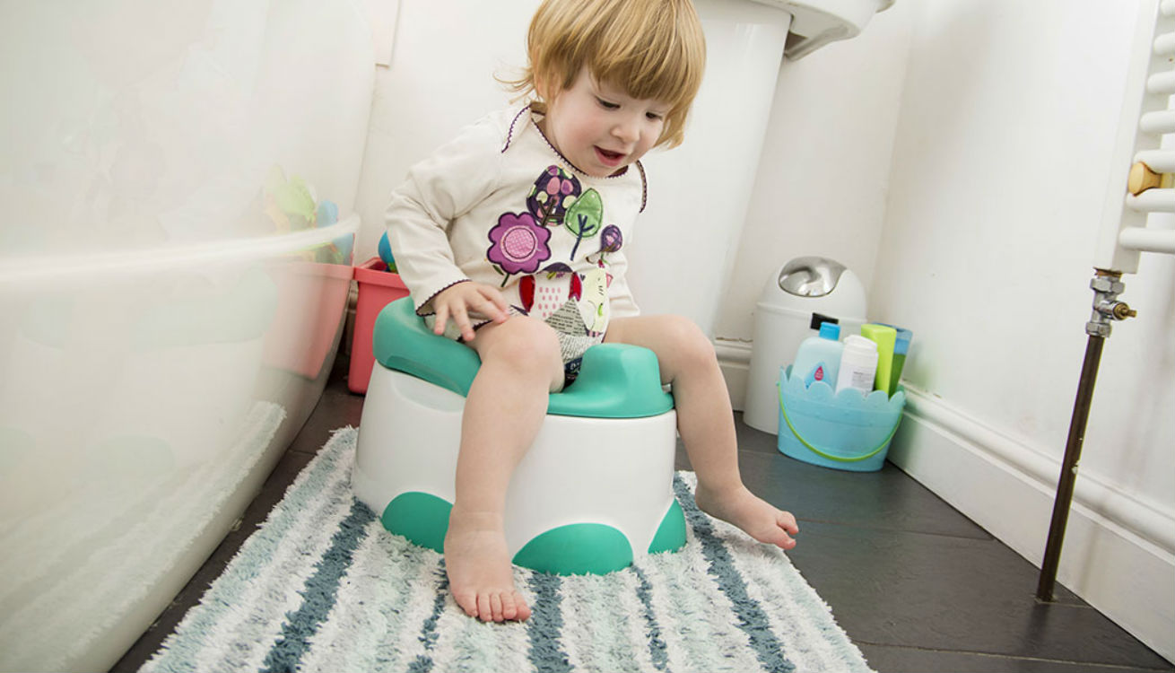 Emily testing out the Bumbo Step 'n Potty