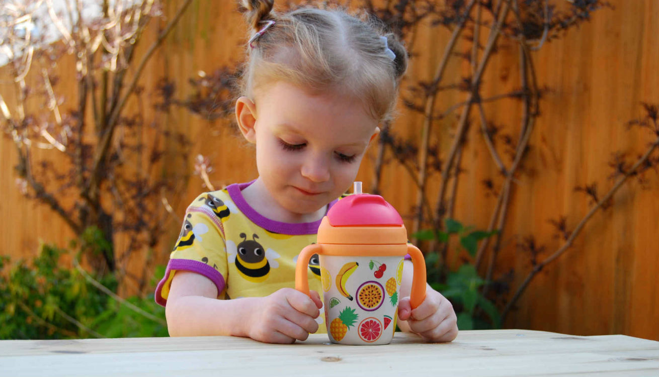 Seren drinking from the Sunnylife Eco Sippy Cup