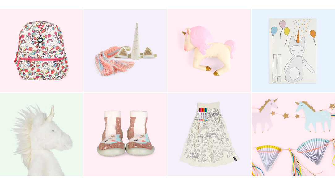Shop the unicorn trend with our unicorn themed bags, toys, slippers & party decor