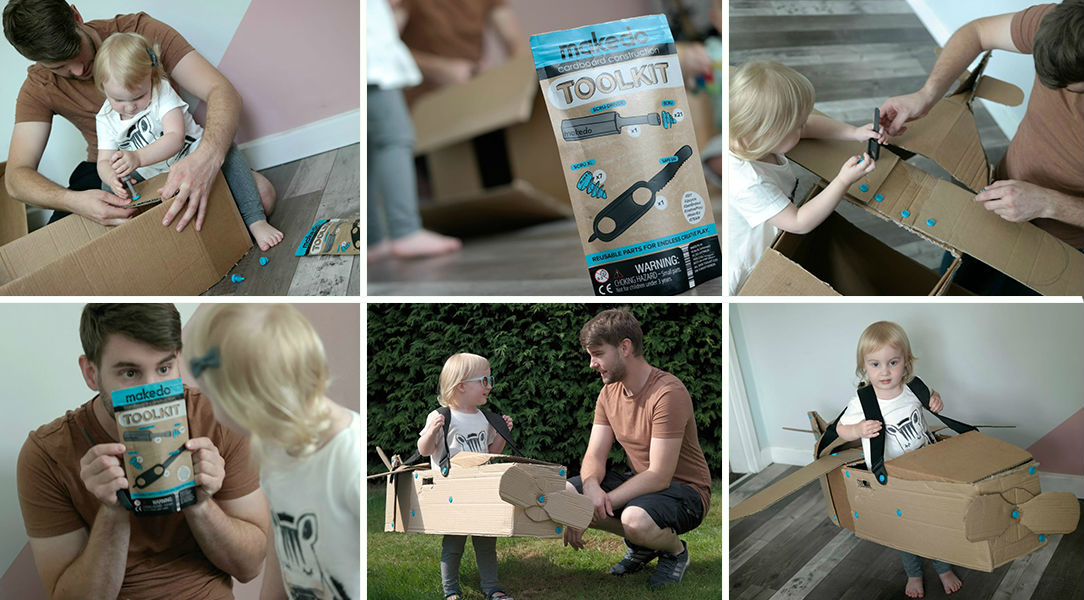 Luke and Esme test out the Makedo Cardboard Construction Kit for Father's Day
