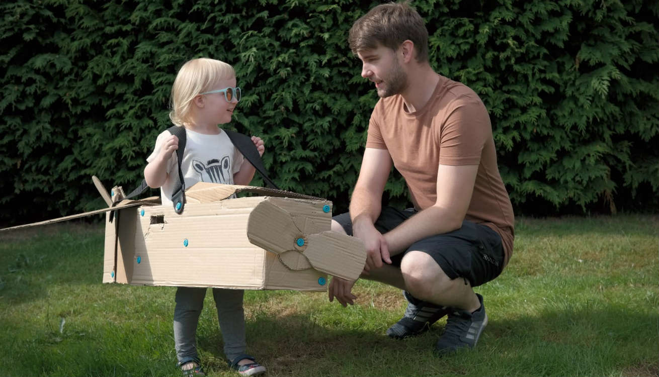 Luke and Esme testing out the Makedo Cardboard Construction Kit