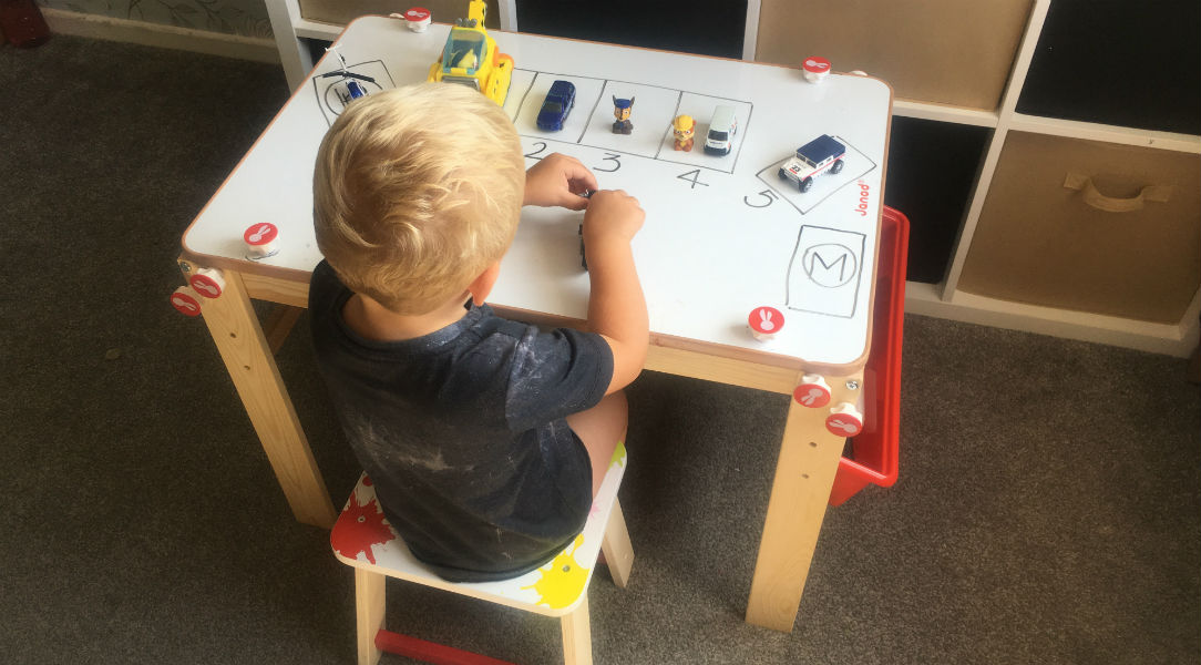 This kids' desk turns into a whiteboard and blackboard
