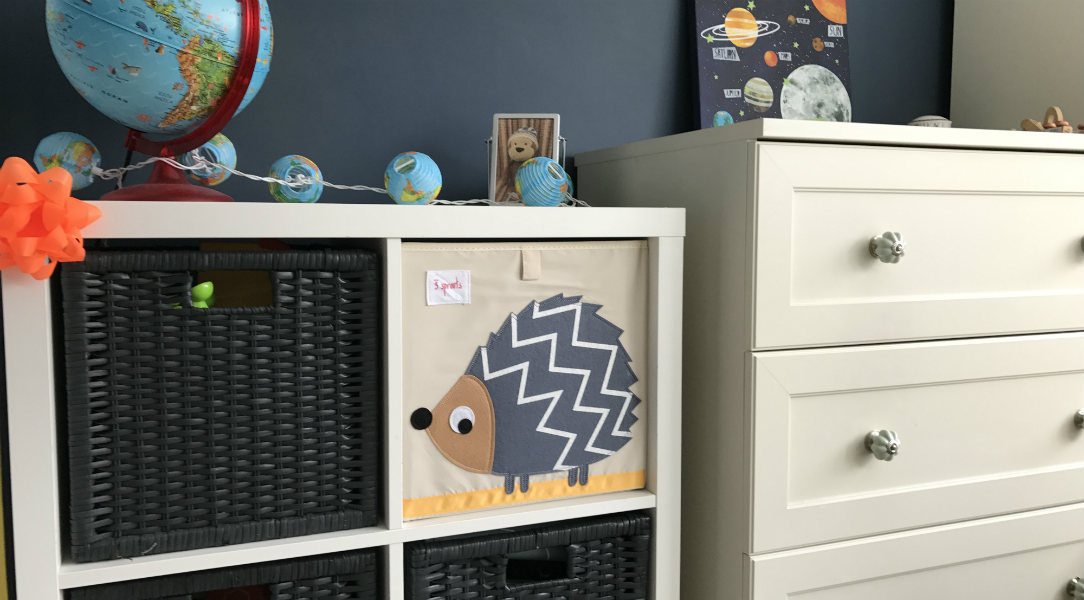Ollie's bedrrom looks great with a 3 Sprouts Storage Box on the shelves
