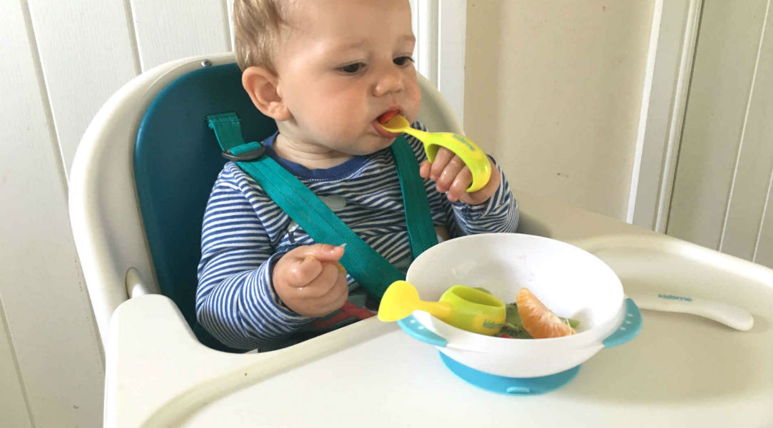Joey find feeding himself easy with the Kidsme Toddler Spoon and Fork Set