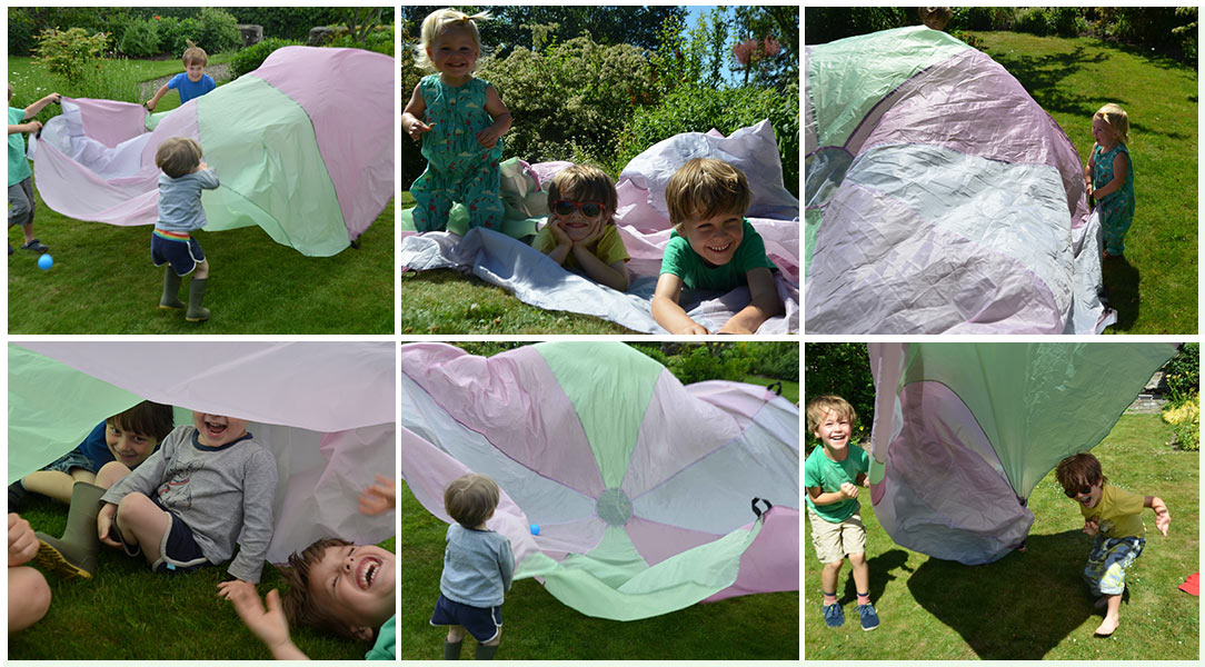 Hannah tests the Traditional Garden Games Giant Play Parachute